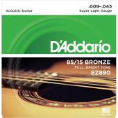 D`Addario EZ890 85/15 Bronze Acoustic Guitar Strings, Super Light, 9-45