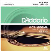 D`Addario EZ920 85/15 Bronze Acoustic Guitar Strings, Medium Light, 12-54